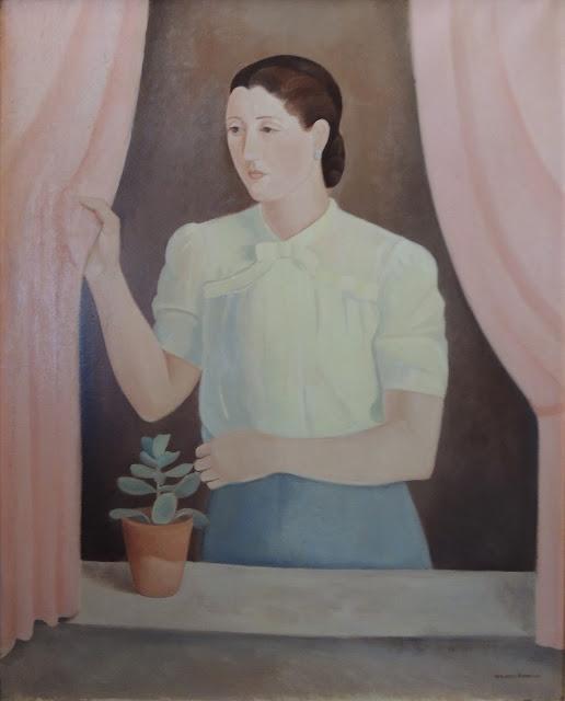 Juan Navarro Ramón retrato mujer ventana pintura posguerra