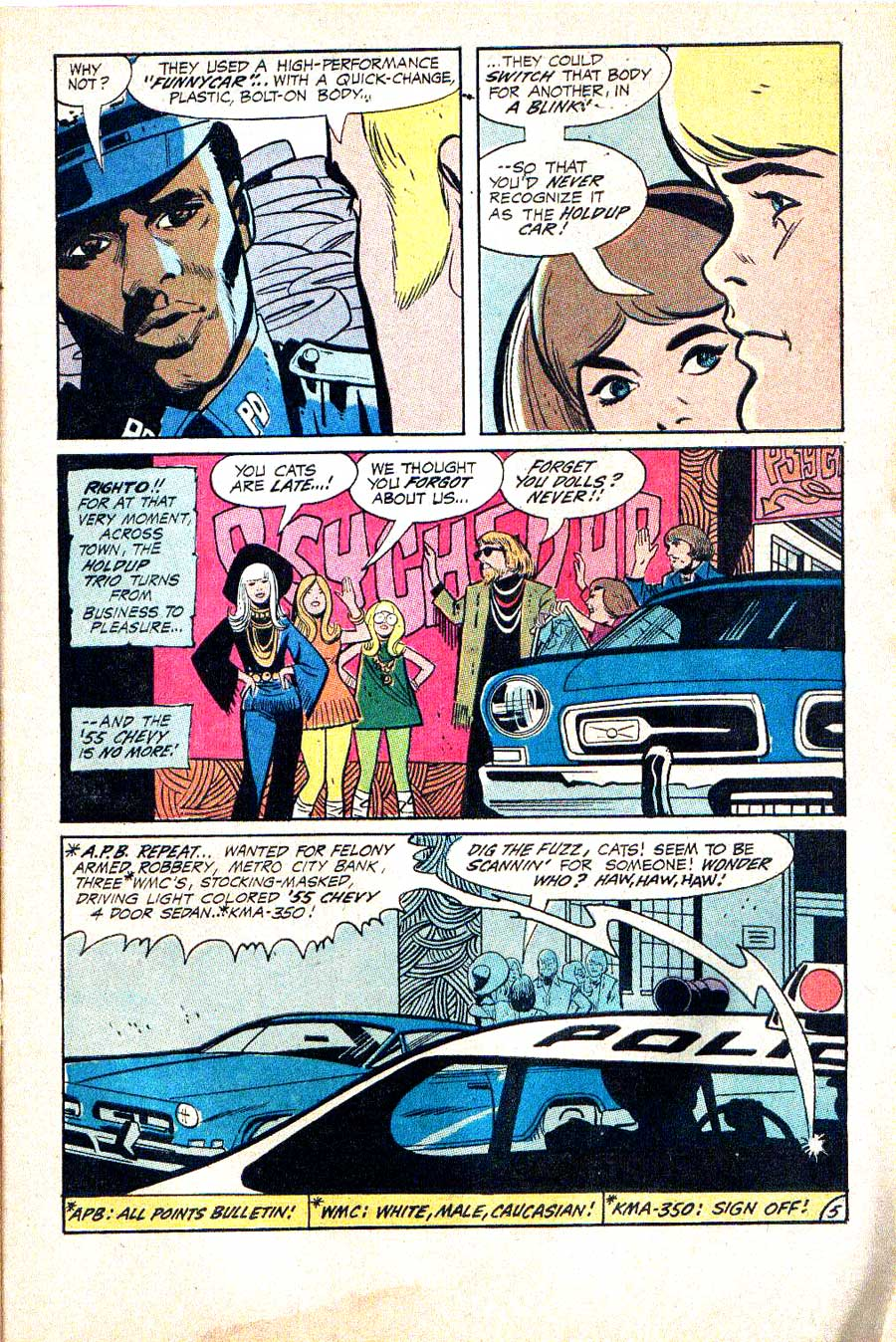 Hot Wheels v1 #3 dc 1970s bronze age comic book page art by Alex Toth