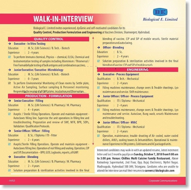 Biological E Limited Walk In Interview  Freshers/Experienced for Multiple Positions at 7 October