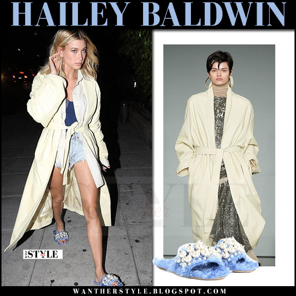 Hailey Baldwin in cream coat and blue fur miu miu slippers what she wore april 2017