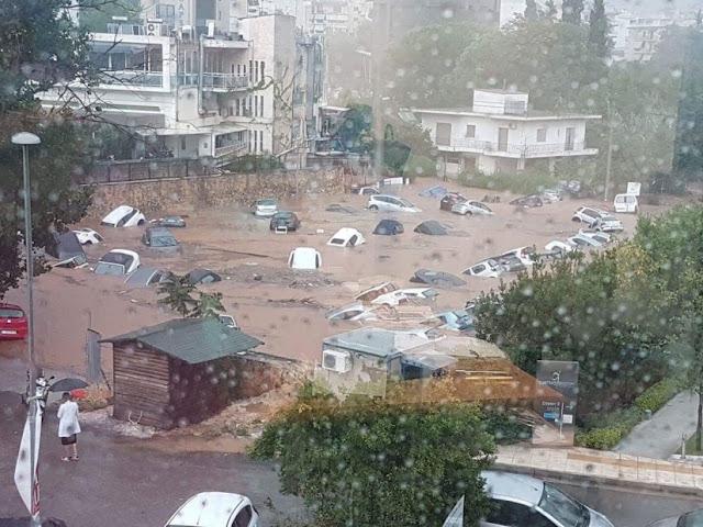 Εκατοντάδες αυτοκίνητα «βούλιαξαν» - Κινδυνεύουν άνθρωποι στο Μαρούσι