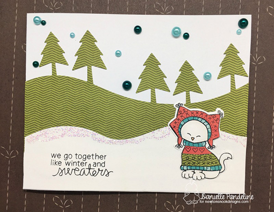 Winter Cat in Sweater Card by  Danielle Pandeline | Inky Paws Challenge 38 | Sweater Weather Stamp Set by Newton's Nook Designs #newtonsnook