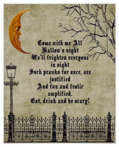 Night time poster with moon and Halloween sentiment