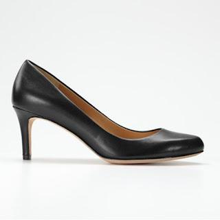 Black Leather Kitten Heel Court Shoes