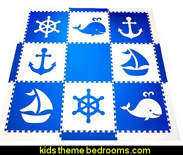 SoftTiles Nautical Ocean Theme Kids Interlocking Foam Playmat