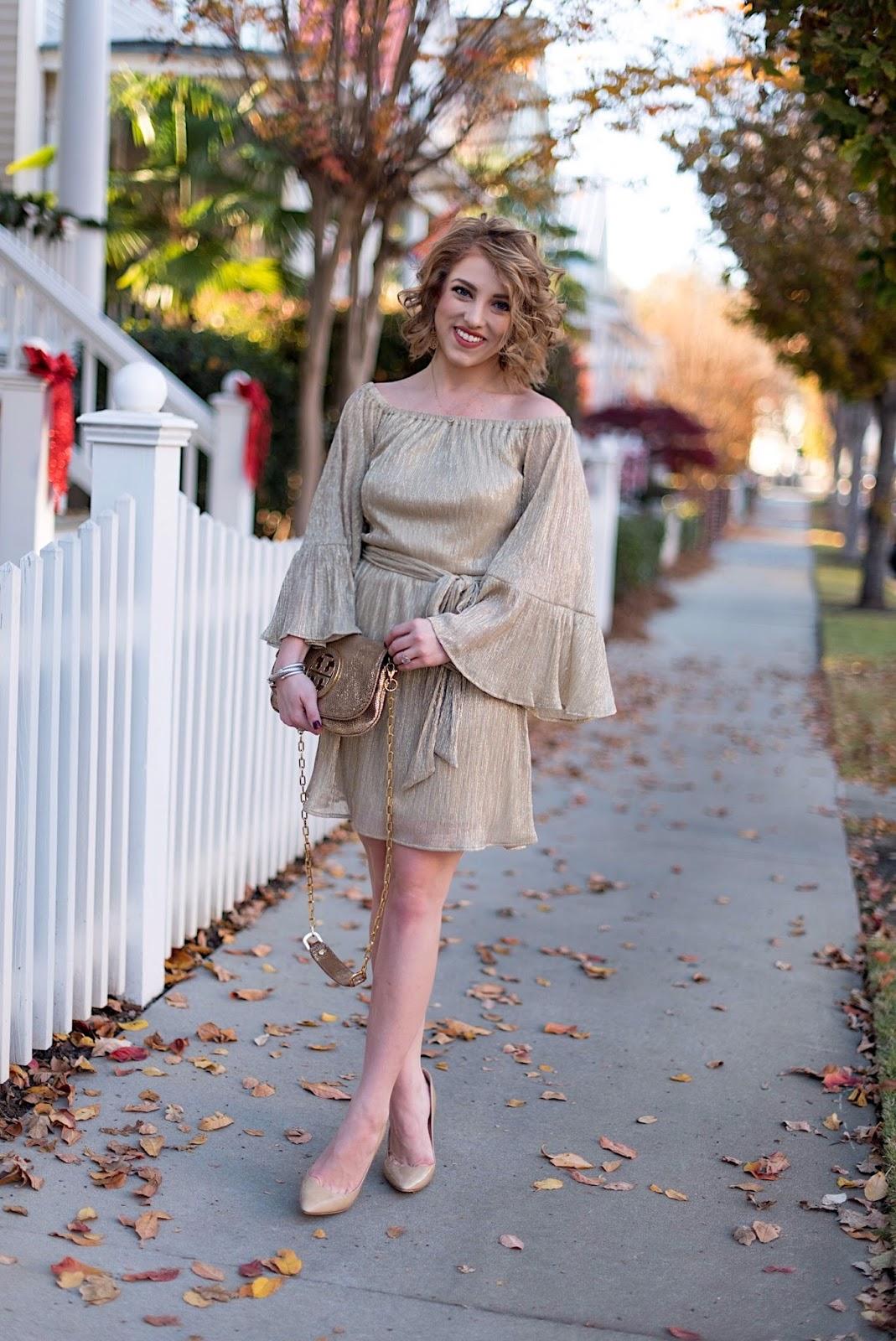 $55 Metallic Gold OTS Dress - Something Delightful Blog