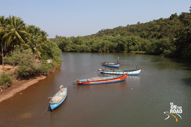 Boats near Agonda estuary, South Goa, India