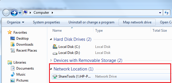 how to map share folder with network drive