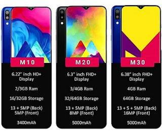 Spesifikasi Lengkap Samsung Seri M10, M20 Terbaru M30