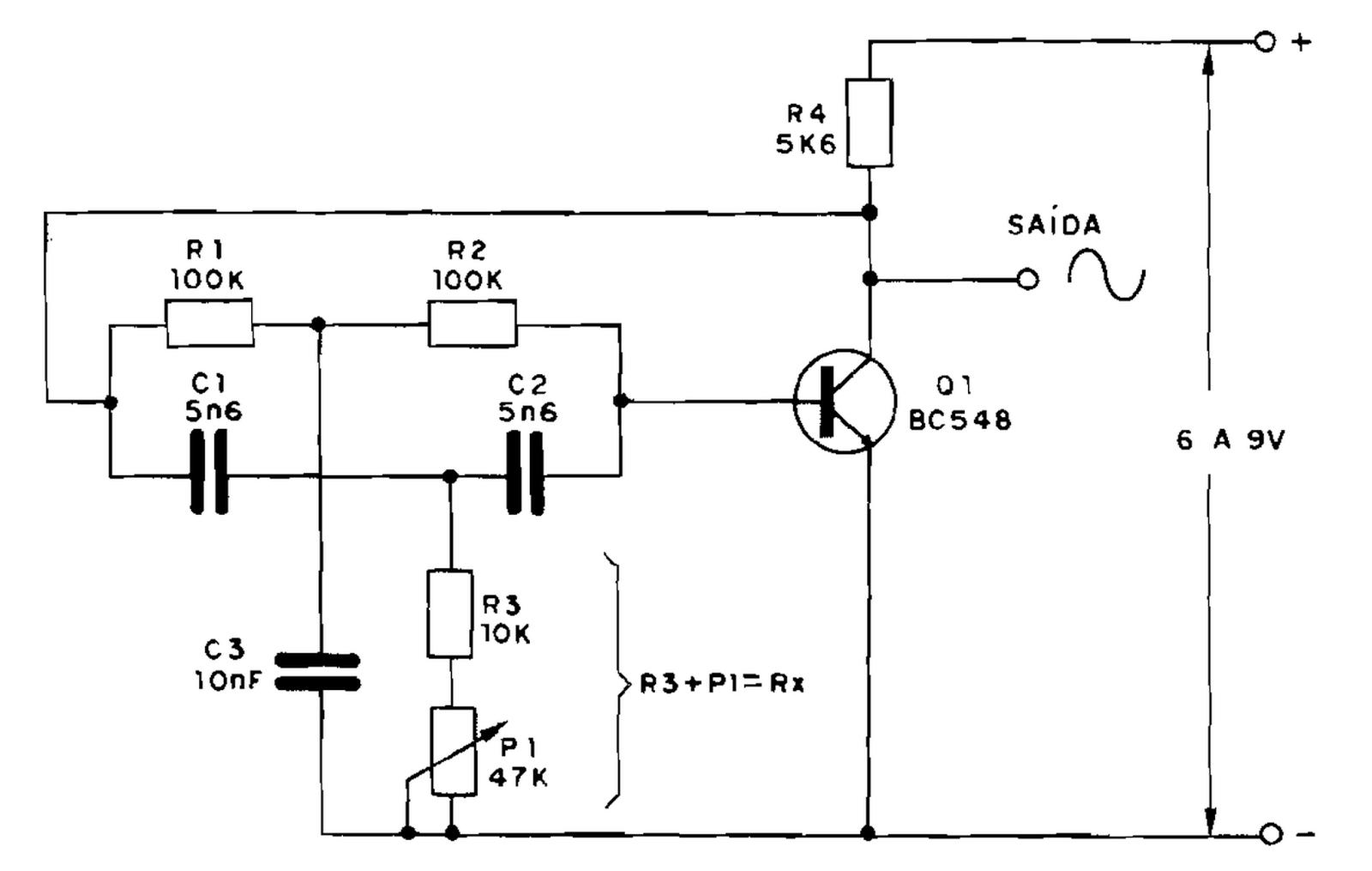 Circuito Oscilador : Oscilador duplo t com transistor ou amp op leandrotec