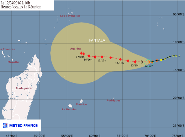 Trajectoires et intensité prévues tempête tropical Fantala