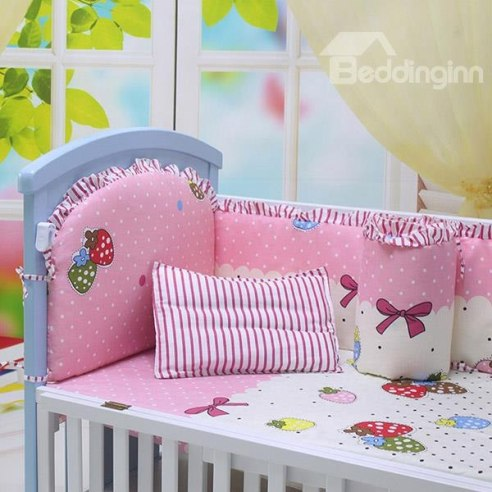 Pink Strawberry and Bowknot Pattern Crib Bedding Sets -Price : USD $43.29  (70% off)