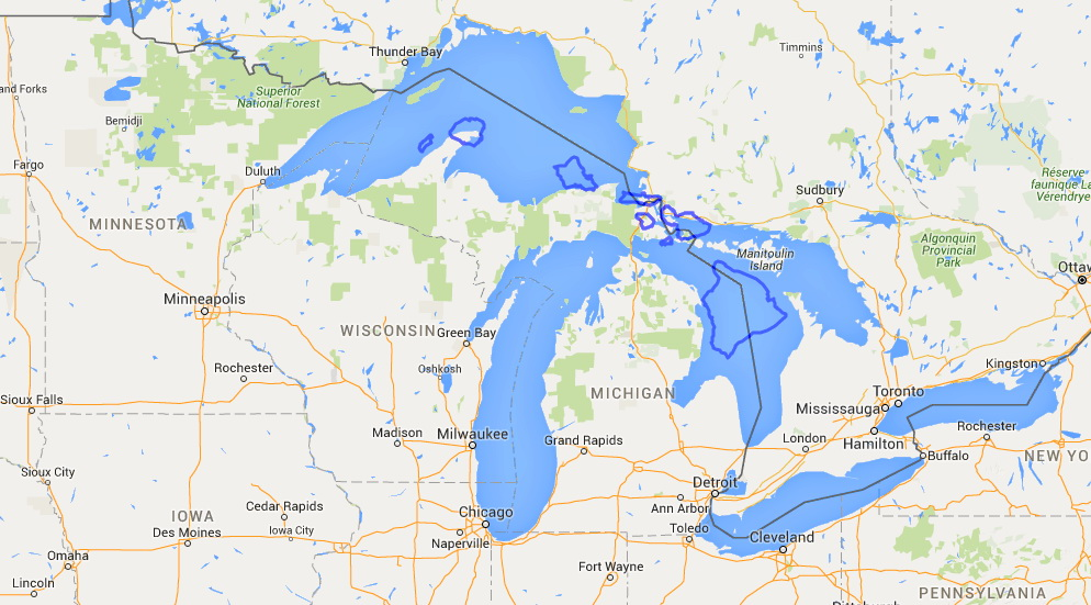 Hawaii vs. The Great Lakes sans Mercator projection distortion