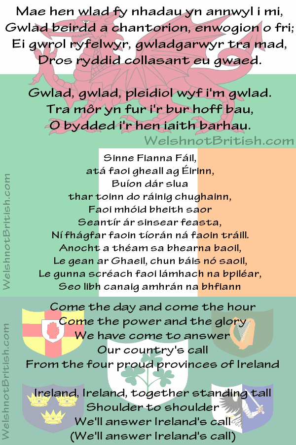 WelshnotBritish com: Wales doesn't have an 'official' national anthem