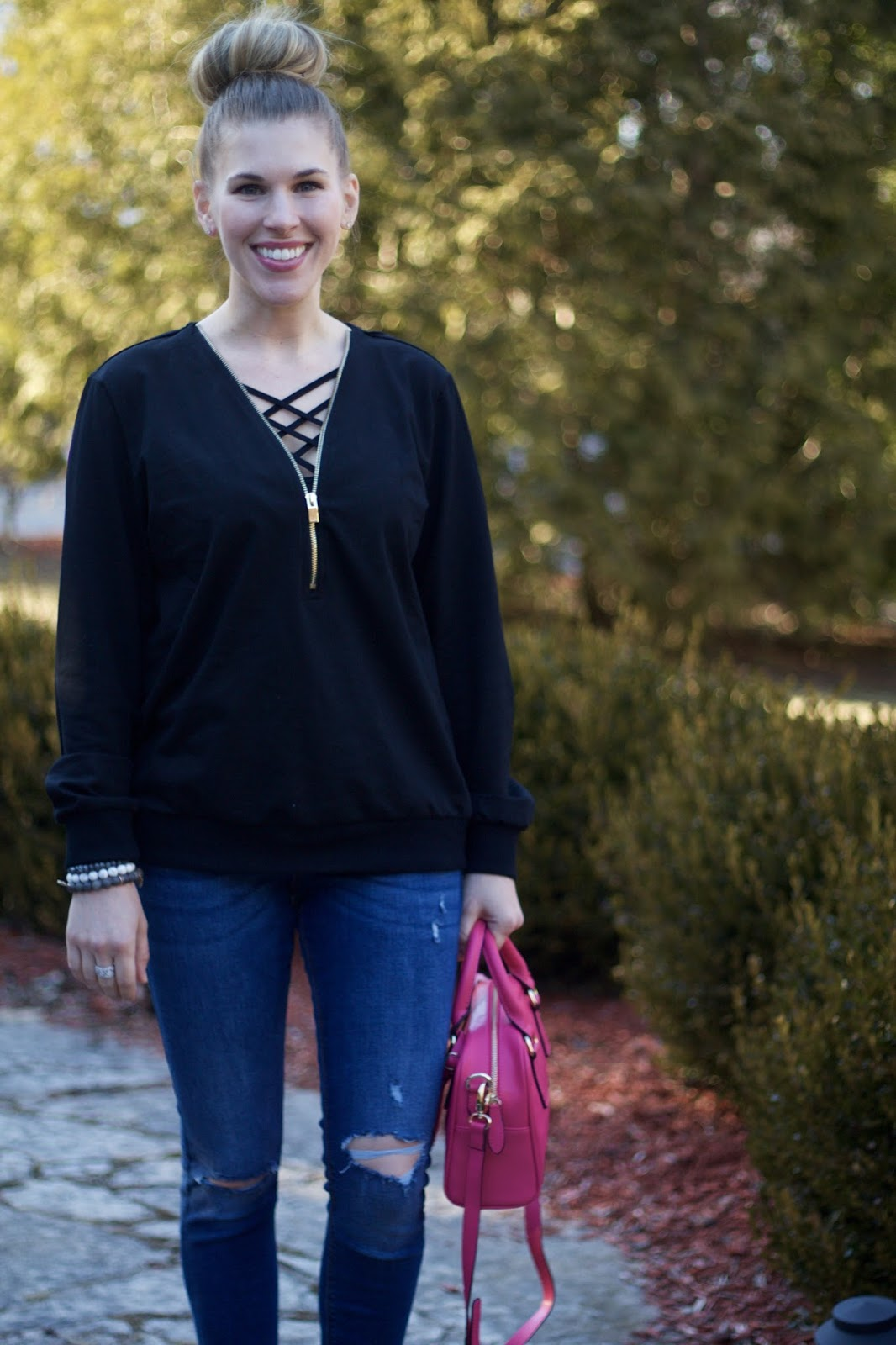 daily outfit, casual outfit, black zipper sweatshirt, Old Navy Rockstar distressed jeans, pink pumps, pink leather satchel bag,