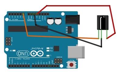 rangkaian arduino dan receiver infrared