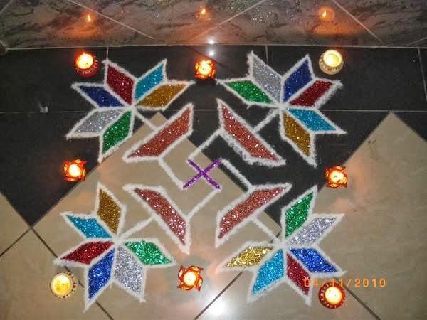 glitter rangoli diwali