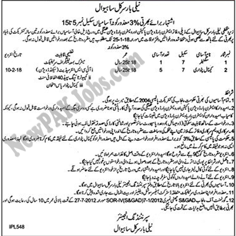 Today New Jobs in Sahiwal Under Neeli Bar Circle Sahiwal  Jan 2018