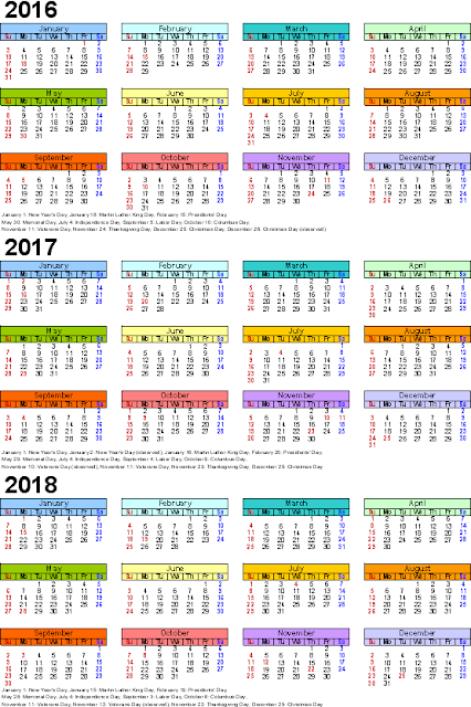 2016/2017/2018 Calendar Word Excel Free Download, Three year calendars for 2016/2017/2018 Monthly, 2016/2017/2018 Printable Calendar template, 2016/2017/2018 Calendar with Holidays Cute