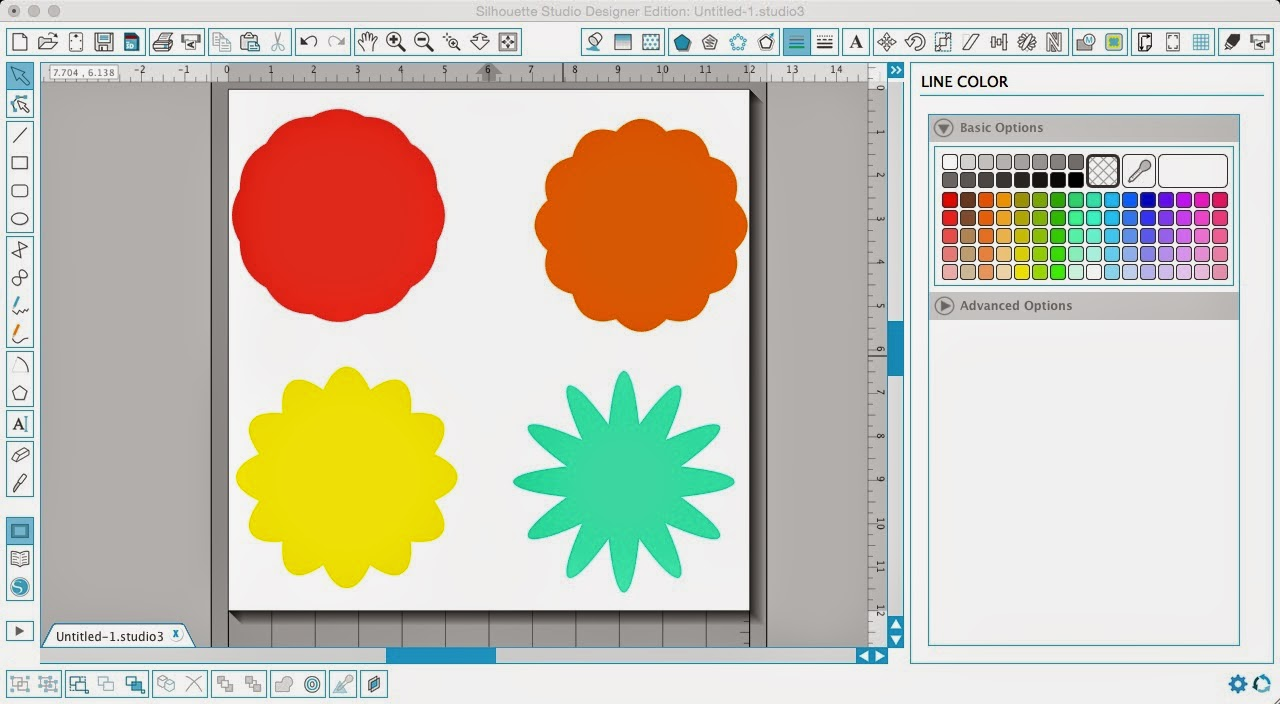 Silhouette Studio, Silhouette tutorial, designing, scalloped circle, flower, line color