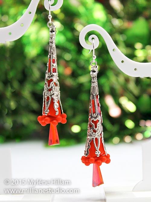 Stylish Red Christmas Tree earrings