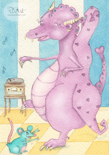 dancing dragon watercolor illustration by tawnya boe art