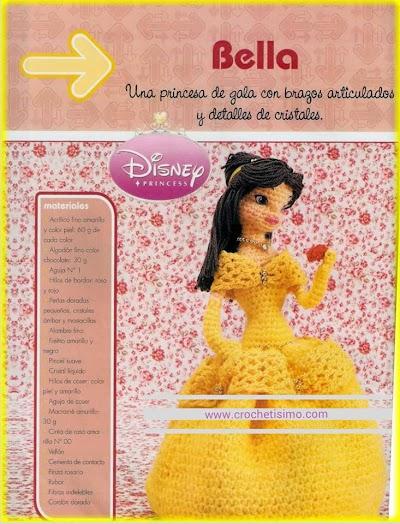 Amigurumi de la Princesa Bella, paso a paso.