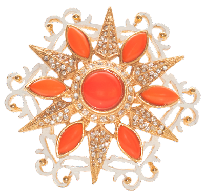 A clean looking brooch from the 1960s with orange details, rhinestones, and white enamel.