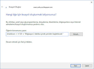 windows restart kısayol