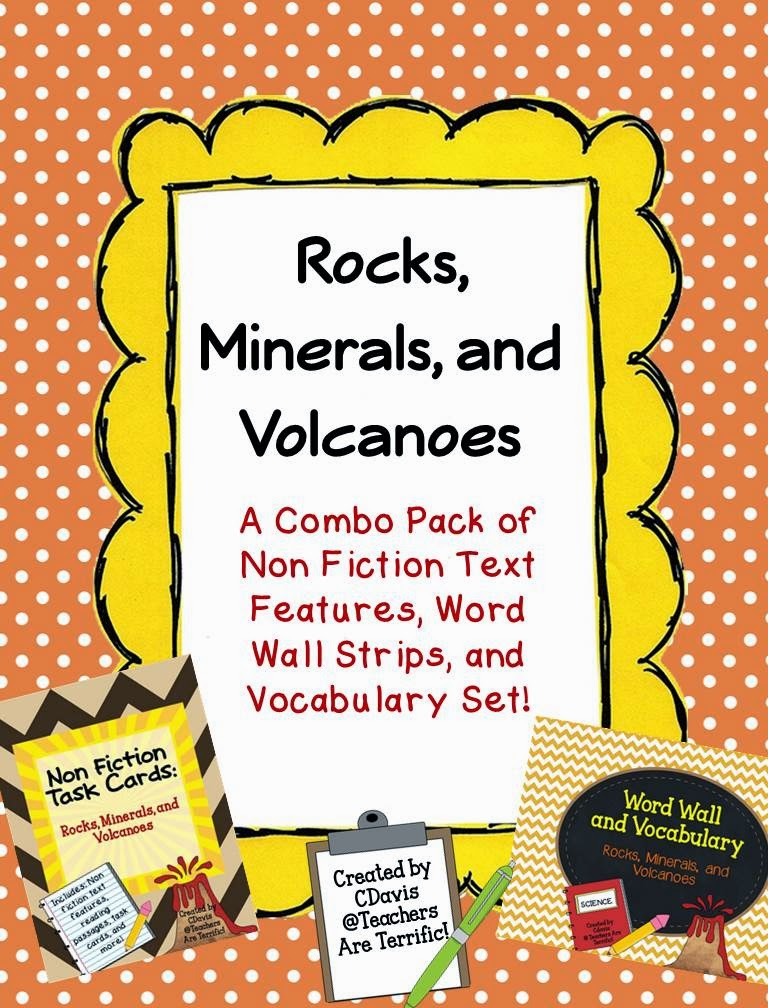 Non fiction text features and task cards- A combo set with vocabulary, too!