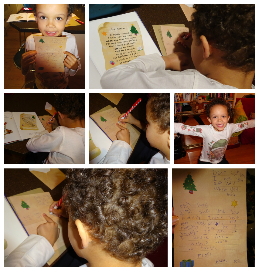 Collage of pictures of letter to Santa