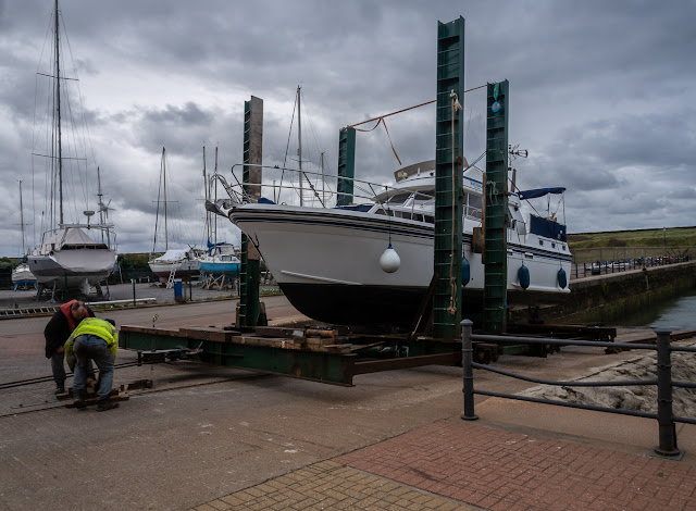Photo of Ravensdale on her way up the slipway on the boat hoist