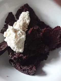 mixing the brownie and dairy free frosting