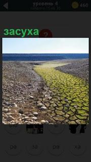 Изображение русла реки в засуху, нет воды и берега под палящим солнцем