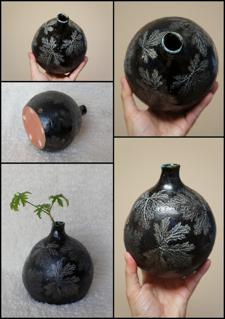 Soda fired leaf imprint handmade pottery vase by Lily L.