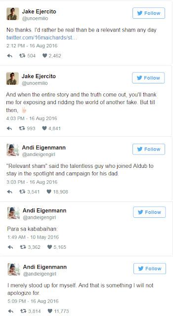 TWITTER WAR: Jake Called Andi 'FAKE'; Andi Called Jake 'Talentless'
