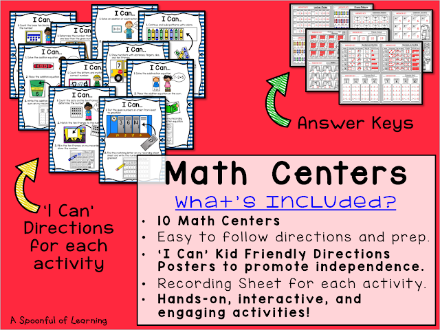 Back to School Centers - 10 Math Centers 1