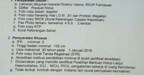 Lowongan Kerja PTT Bidan  Perawat di RSUP Fatmawati Tahun 2018