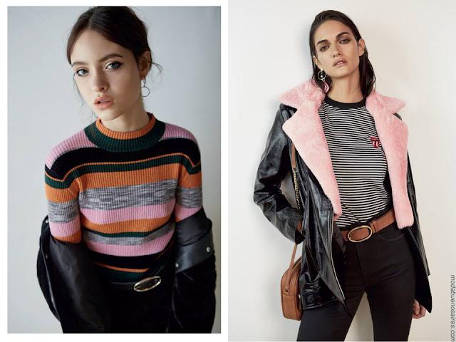 Moda invierno 2017 juvenil urbana, camperas de mujer con corderito, sweater a rayas tejido.