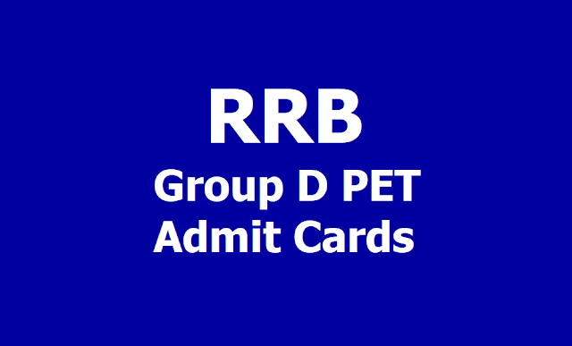 RRBGroup D PETAdmit Cards 2019