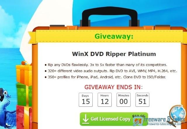 Offre promotionnelle : WinX DVD Ripper Platinum gratuit pendant 15 jours !