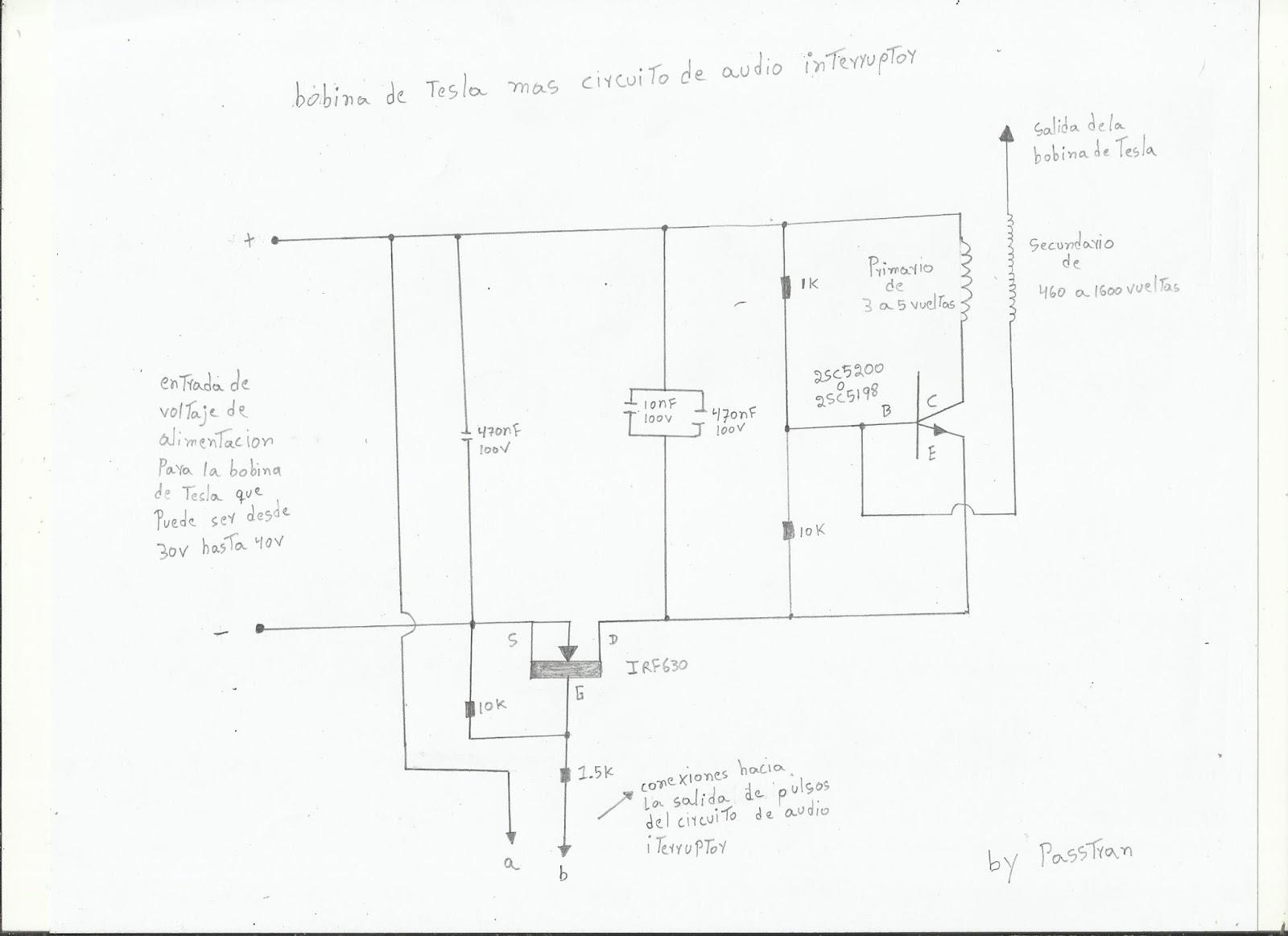 Circuito Bobina De Tesla : Ponyelectronica prototipo de audio interruptor para mini bobina