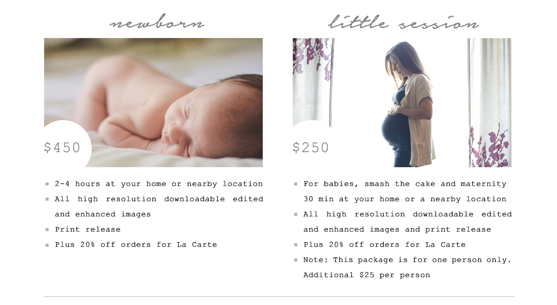 the final touch photography newborn price list