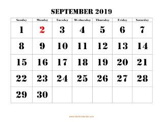 Free Printable Calendar September 2019