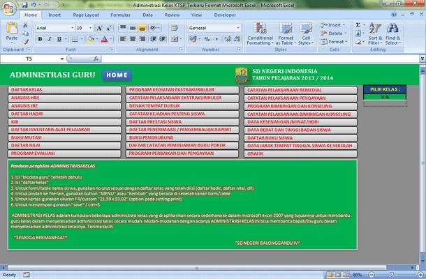 Administrasi Kelas KTSP Terbaru Format Microsoft Excel