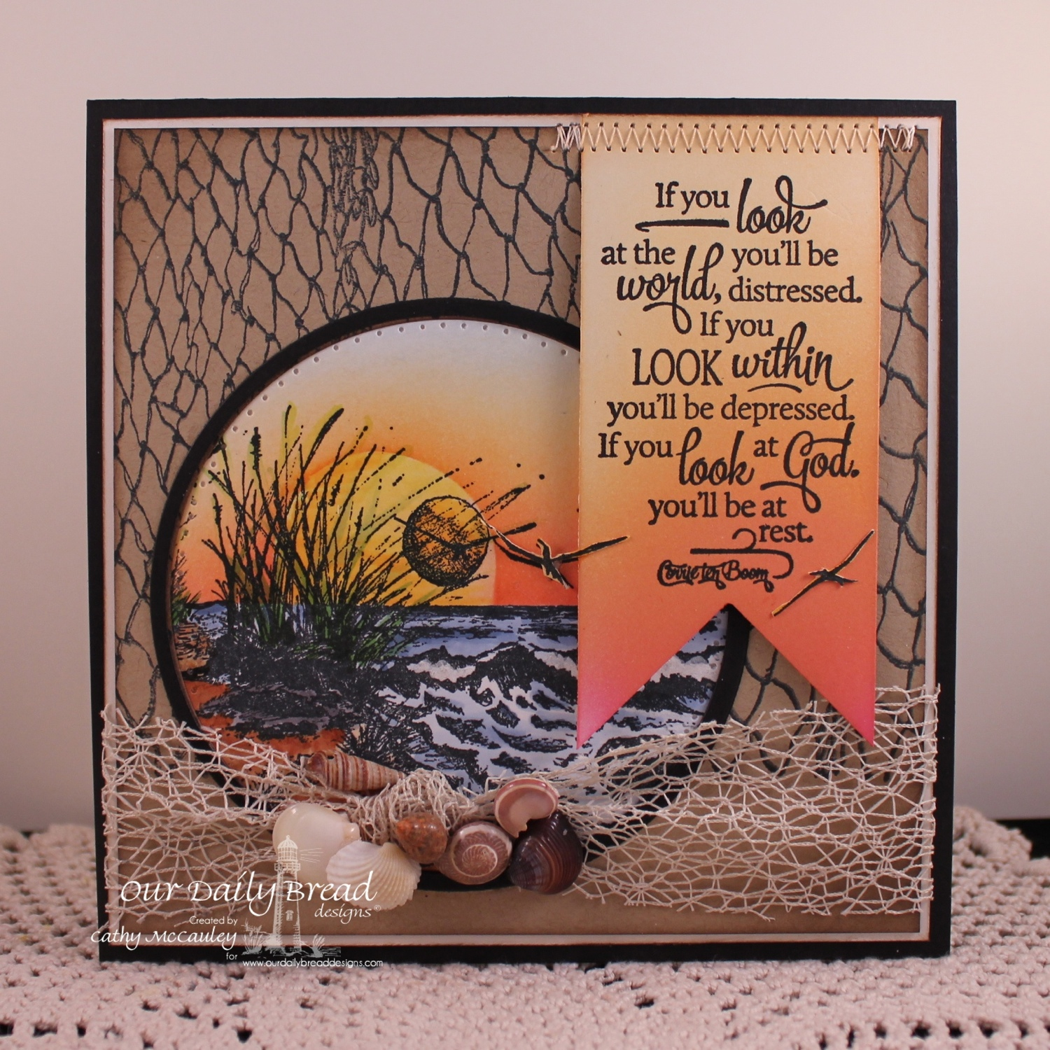 Stamps - Our Daily Bread Designs Quote Collection 4, Fishing Net Background, The Mighty Sea