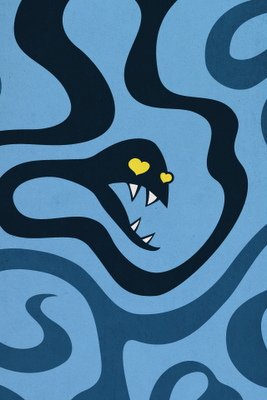 iPhone wallpaper with blue snake resembling creatures in love
