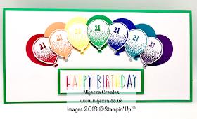 Rainbow Balloon 21st Birthday Card Nigezza Creates