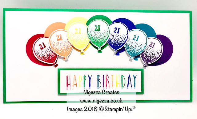 Rainbow Balloon 21st Birthday Card Nigezza Creates