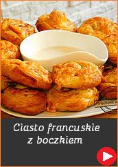 Przepisy na sylwestra przekąski przystawki pomysł Ciasto francuskie z boczkiem